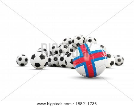 Football With Flag Of Faroe Islands Isolated On White