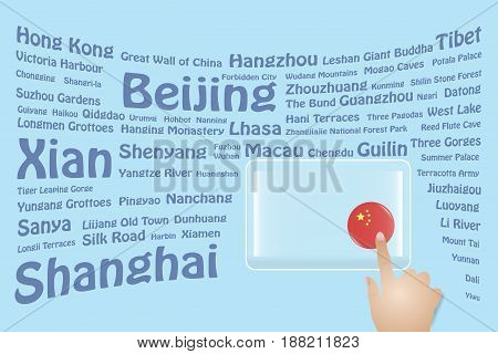 Hand is touching a round Chinese flag on a transparent screen. The blue bent names of the Chinese sights are in the background. Free place for your text is at the screen.