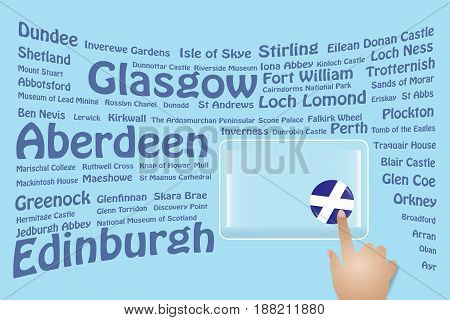 Hand is touching a round Scottish flag on a transparent screen. The blue bent names of the Scottish sights are in the background. Free place for your text is at the screen.