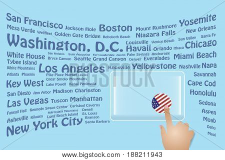 Hand is touching a round US flag on a transparent screen. The blue bent names of the USA sights are in the background. Free place for your text is at the screen.