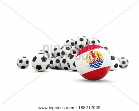 Football With Flag Of French Polynesia Isolated On White