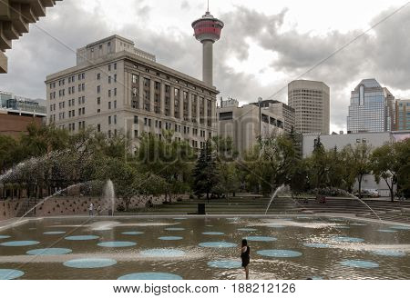 Calgary Alberta/Canada - August 30 2015: The Olympic Plaza (with the Calgary Tower visible) on a cloudy day in Calgary Alberta.