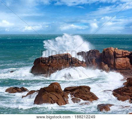 The Pink Granite Coast Wave (brittany, France).