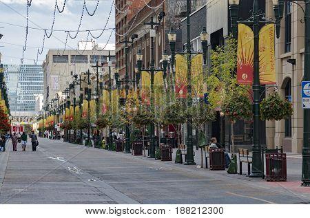 Calgary Alberta/Canada - August 30 2015: The Stephen Avenue Walk on a Summer day in Calgary Alberta.