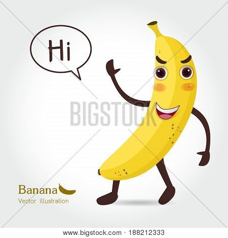 Banana vector icon cartoon style isolated on white-yellow background. Banana vector illustration. Banana isolated black and color icons vector silhouette. Banana vegetable food vector flat style