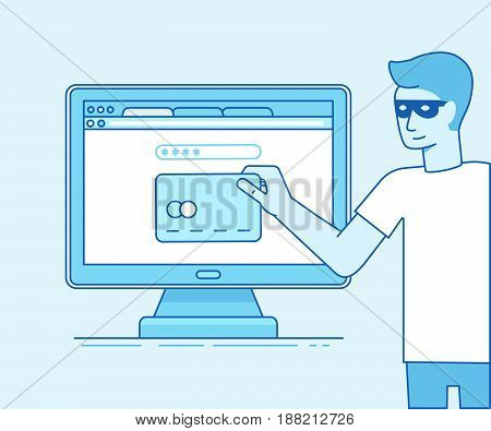 Vector Illustration In Modern Flat Linear Style - Hacker Stealing Credit Card Data
