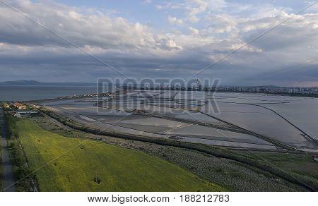 sea salt lakes on sunset areal view