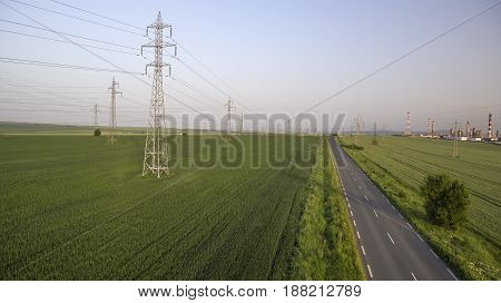 power lines on the field areal view day time