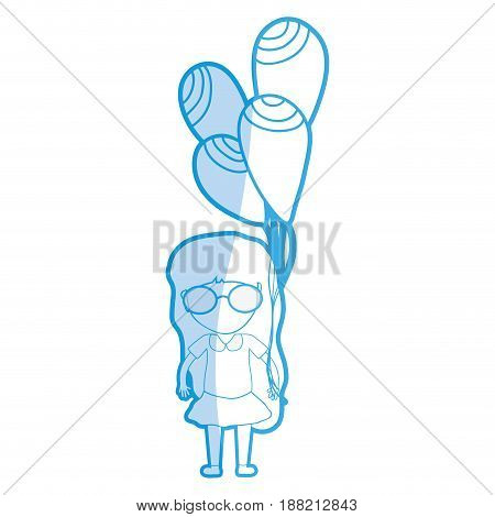 silhouette cute girl with balloons in the hand, vector illustration
