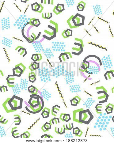 Geometric seamless vector pattern in memphis style.90s style