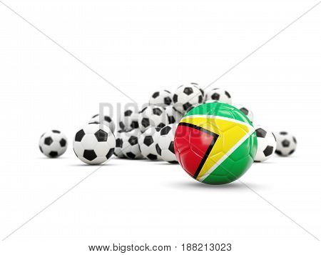 Football With Flag Of Guyana Isolated On White