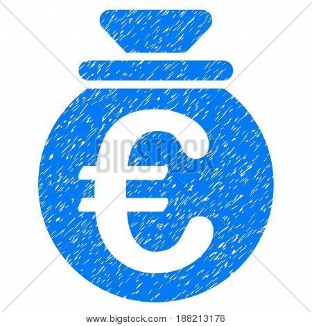 Grunge Euro Fund icon with grunge design and unclean texture. Unclean vector blue pictogram for rubber seal stamp imitations and watermarks. Draft sticker symbol.