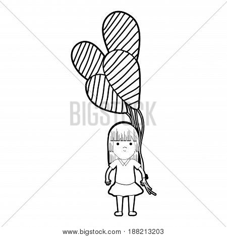 line cute girl with balloons in the hand, vector illustration