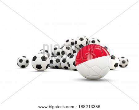 Football With Flag Of Indonesia Isolated On White