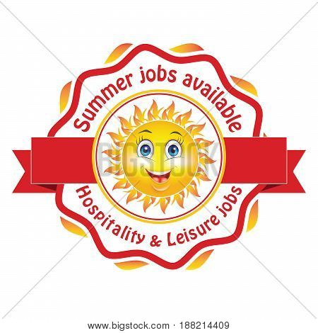 Summer jobs available. Hospitality and leisure jobs   Printable sticker / label for companies / Employers that are looking for seasonal employees. Help Wanted / Apply now!