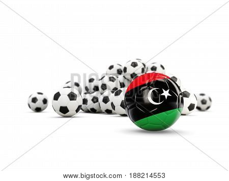 Football With Flag Of Libya Isolated On White