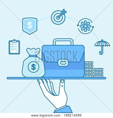 Vector Illustration In Trendy Linear Style And Blue Colors - Business Insurance