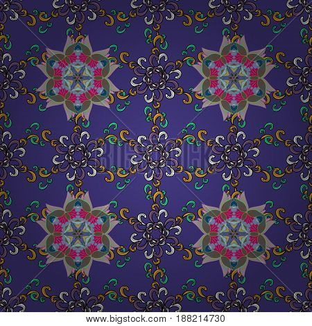 Tropical seamless pattern with many blue and pink abstract flowers. Varicolored vector seamless illustration.