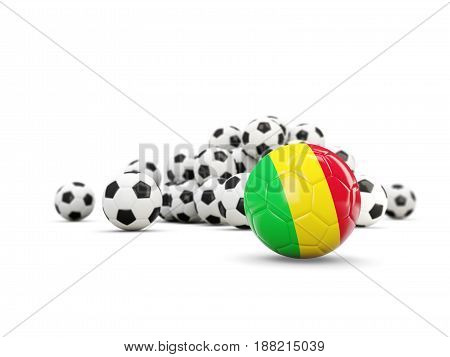 Football With Flag Of Mali Isolated On White