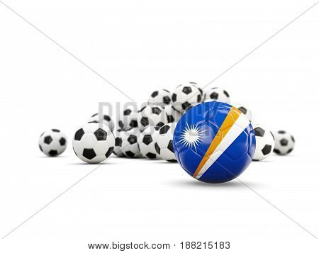 Football With Flag Of Marshall Islands Isolated On White