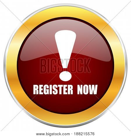 Register now red web icon with golden border isolated on white background. Round glossy button.