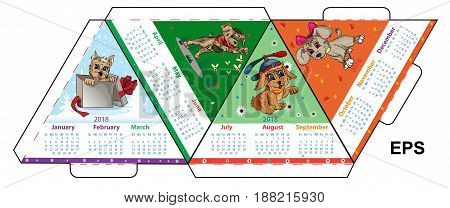 A triangular layout of the A4 calendar for 2018 of an earth dog prepared for printing