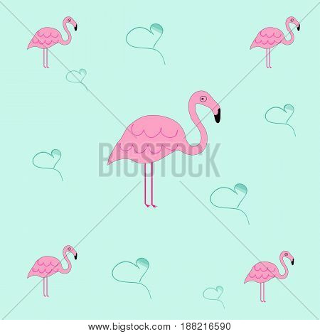 seamless tileable texture with flamingo and hearts - blue background