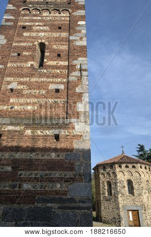 Medieval church of Santi Pietro e Paolo in Agliate (Monza Brianza Lombardy Italy): the belfry and the baptistery