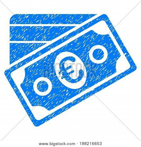 Grunge Euro Money Credit Card icon with grunge design and scratched texture. Unclean vector blue pictogram for rubber seal stamp imitations and watermarks. Draft sign symbol.