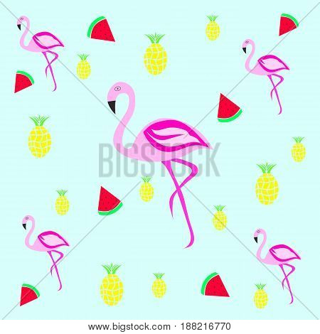 seamless tileable texture - flamingo with pineapple and strawberries