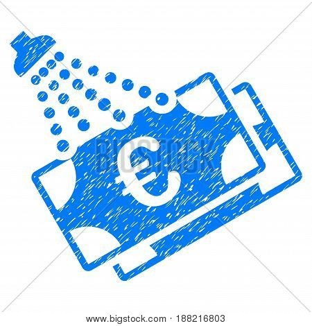 Grunge Euro Money Laundry icon with grunge design and dust texture. Unclean vector blue pictogram for rubber seal stamp imitations and watermarks. Draft sign symbol.