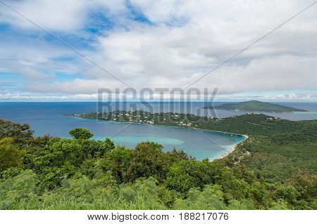 View of beatiful Megans Bay beach on St Thomas in the Caribbean