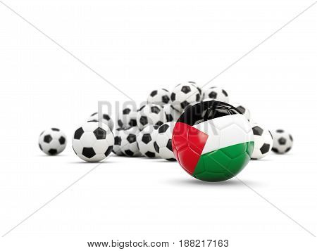 Football With Flag Of Palestinian Territory Isolated On White