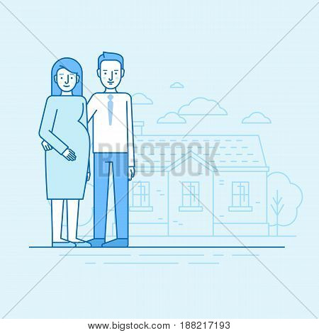 Vector Flat Linear Illustration In Blue Colors - Happy Young Family And Expecting Parents