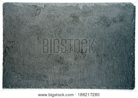 Rectangular black textured slate board for dishes isolated on white background