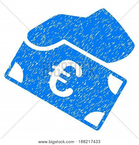 Grunge Euro Payment icon with grunge design and dust texture. Unclean vector blue pictogram for rubber seal stamp imitations and watermarks. Draft sign symbol.