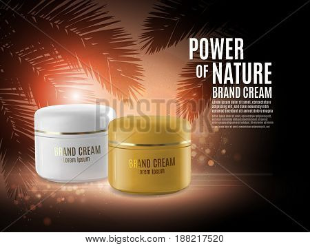Facial cream glass jar realistic vector illustration isolated on purple bokeh background. Matt white and golden jar with cosmetic on background with palm leaf and glowing elements