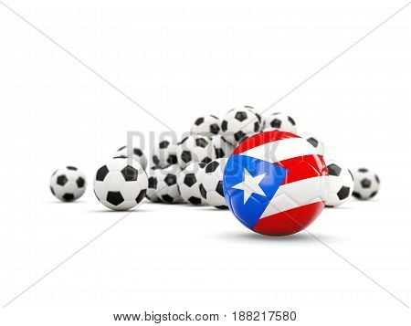 Football With Flag Of Puerto Rico Isolated On White