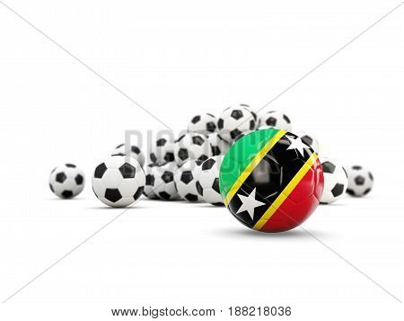 Football With Flag Of Saint Kitts And Nevis Isolated On White