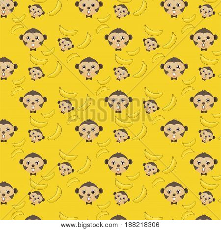 Vector seamless background of monkey and banana seamless pattern wallpaper with clipping mask