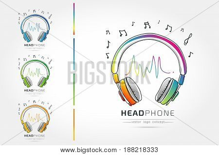 Modern linear thin flat design. The stylized image of Headphone. music festival logo Template for covers logo posters invitations on white background Vector illustration
