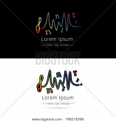 Music Logo concept sound wave with note hand drawn style Audio Technology Abstract Shape on white-black background vector illustration