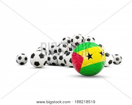 Football With Flag Of Sao Tome And Principe Isolated On White