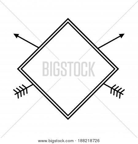 label rhombus arrow decoration rustic design vector illustration