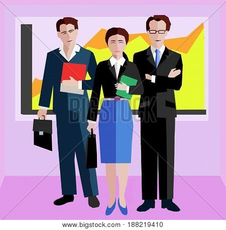 Confident Business people standing in an office.  Businessman and Businesswoman in Business Suits. Elite Corporate team concept Illustration Vector.