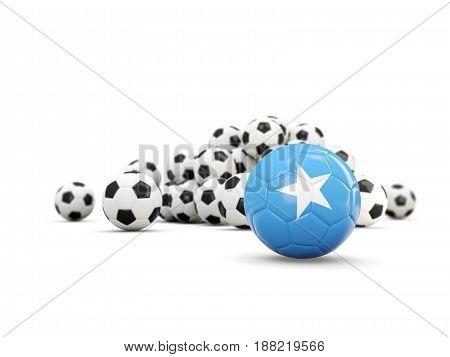 Football With Flag Of Somalia Isolated On White