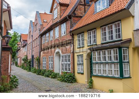 Colorful Street With Old Houses In Luneburg