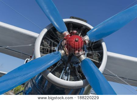 airplane propeller with engine front view close-up