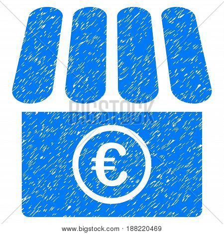 Grunge Euro Shop icon with grunge design and unclean texture. Unclean vector blue pictogram for rubber seal stamp imitations and watermarks. Draft sign symbol.