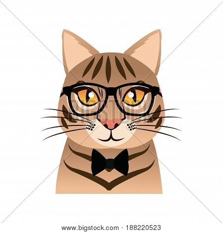Hand drawn portrait of Cat with glasses and bow tie. Vector isolated elements.